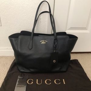 GUCCI SWING TOTE BLACK LEATHER BAG